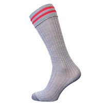 Red Bar Grey Socks