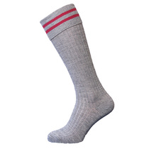 St Christopher's Grey Maroon Bar Socks