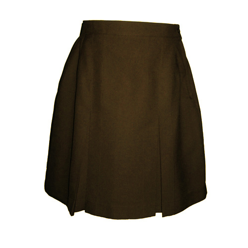 brown 2 kick pleat skirt from the schoolwear specialists